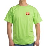 Danish / Denmark Flag Green T-Shirt