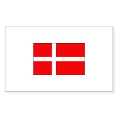 Danish / Denmark Flag Rectangle Sticker 10 pk)