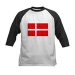 Danish / Denmark Flag Kids Baseball Jersey