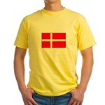 Danish / Denmark Flag Yellow T-Shirt