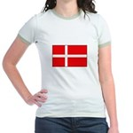 Danish / Denmark Flag Jr. Ringer T-Shirt