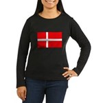 Danish / Denmark Flag Women's Long Sleeve Dark T-S