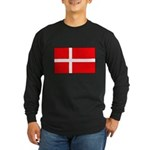 Danish / Denmark Flag Long Sleeve Dark T-Shirt