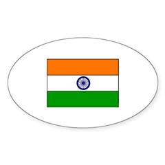 Flag of India Oval Sticker (50 pk)