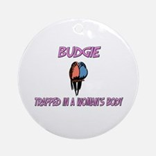 Budgie Trapped In A Woman's Body Ornament (Round)