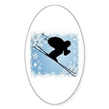 SKI DOWNHILL (BLUE) Oval Decal