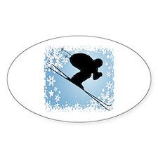 SKI DOWNHILL (BLUE) Oval Sticker (10 pk)