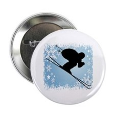 "SKI DOWNHILL (BLUE) 2.25"" Button"