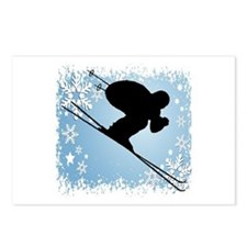 SKI DOWNHILL (BLUE) Postcards (Package of 8)