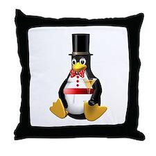 Tux Celebrates - LOL! Throw Pillow