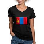 Mongolian Flag Women's V-Neck Dark T-Shirt