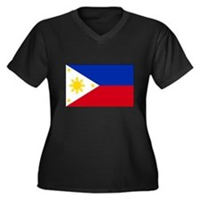 Philippines Flag Women's Plus Size V-Neck Dark T-S