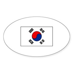 South Korean Flag Oval Sticker (50 pk)
