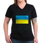 Ukranian Flag Women's V-Neck Dark T-Shirt