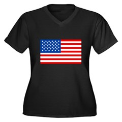 United States Flag Women's Plus Size V-Neck Dark T