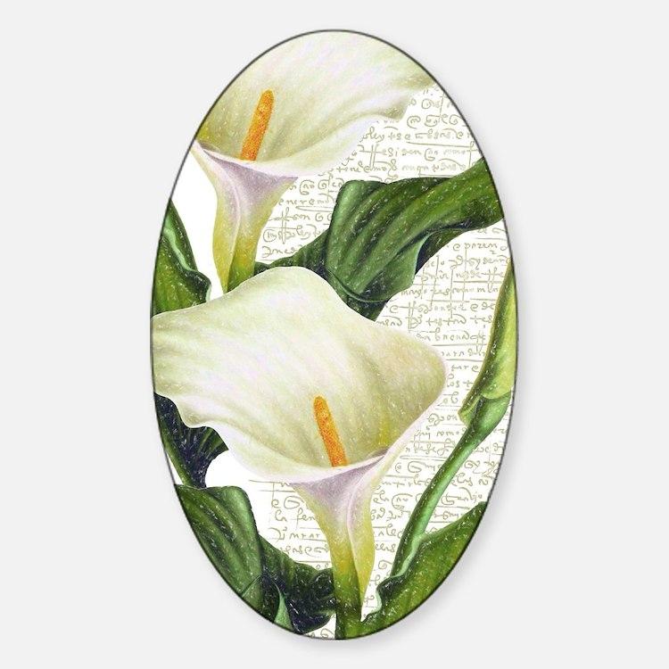 Cute Calla lily Sticker (Oval)