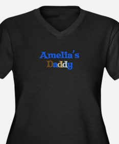 Amelia's Daddy Women's Plus Size V-Neck Dark T-Shi