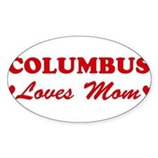 COLUMBUS loves mom Oval Decal