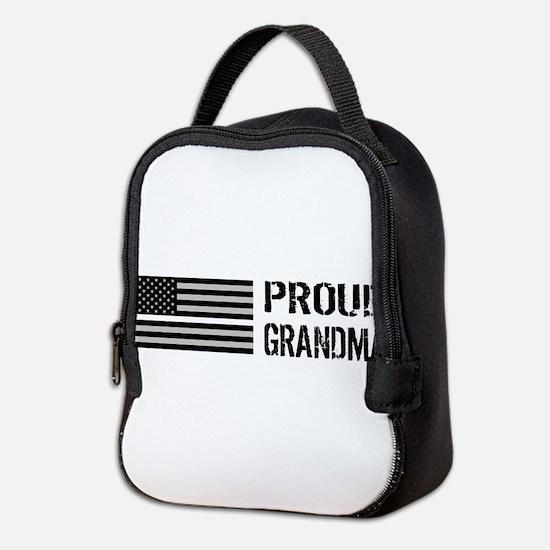 U.S. Flag White Line: Proud Gra Neoprene Lunch Bag