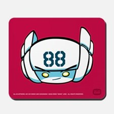 White Robot 88 on Red Mousepad
