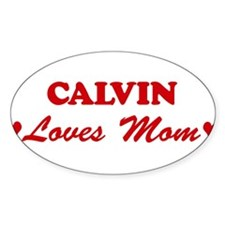 CALVIN loves mom Oval Decal