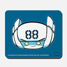 White Robot 88 on Blue Mousepad