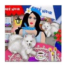 AMERICAN ESKIMO DOGS PARIS Tile Coaster