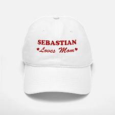 SEBASTIAN loves mom Baseball Baseball Cap