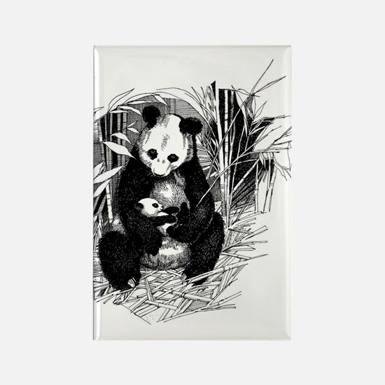 Panda and baby Rectangle Magnet