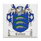Cotter family crest tile Tile Coasters