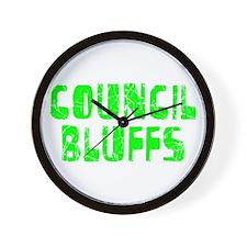 Council Bluffs Faded (Green) Wall Clock