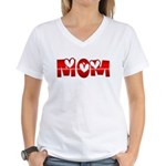 Red Hearted Mom Women's V-Neck T-Shirt