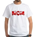 Red Hearted Mom White T-Shirt