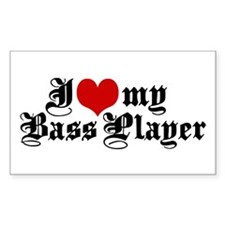 I Love My Bass Player Rectangle Decal
