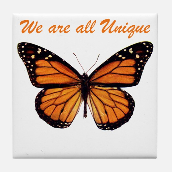We Are All Unique: Butterfly Tile Coaster