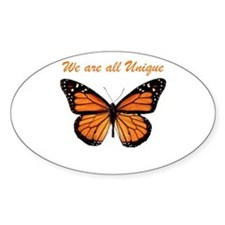 We Are All Unique: Butterfly Oval Bumper Stickers