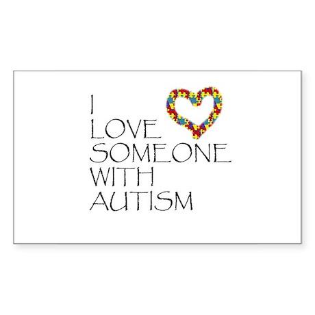 Autism Love Heart Rectangle Sticker