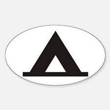 Tent Camping Silhoutte Oval Decal
