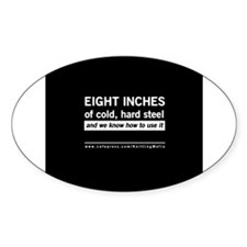 The Knitting Mafia: Eight Inches.. Oval Sticker