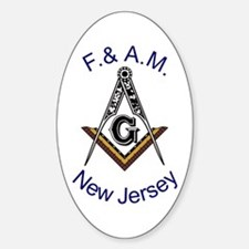 New Jersey Square and Compass Oval Decal