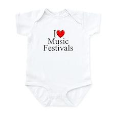 """""""I Love (Heart) Music Festivals """" Infant Bodysuit"""