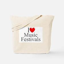"""I Love (Heart) Music Festivals "" Tote Bag"