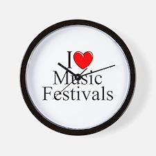 """I Love (Heart) Music Festivals "" Wall Clock"
