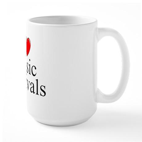 """I Love (Heart) Music Festivals "" Large Mug"