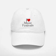 """""""I Love (Heart) Music Festivals """" Baseball Baseball Cap"""