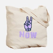 Purple PEACE NOW Fingers Tote Bag