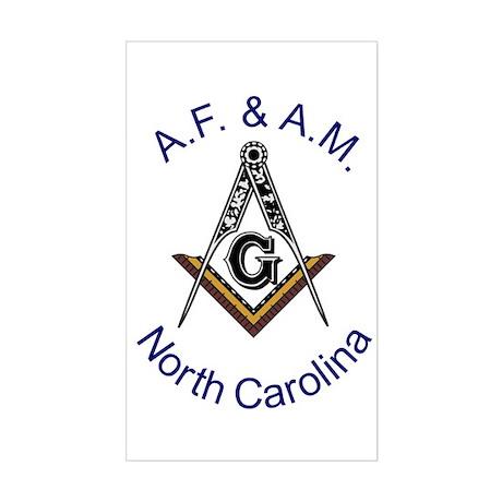 North Carolina Square and Compass Sticker (Rectang