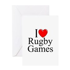 """""""I Love (Heart) Rugby Games"""" Greeting Card"""