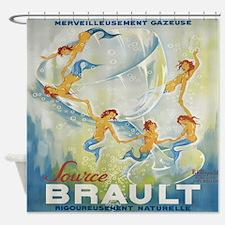 Brault Champagne, Mermaids; Vintage Art Shower Cur
