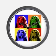 Afghan Hound Color Blocks Wall Clock